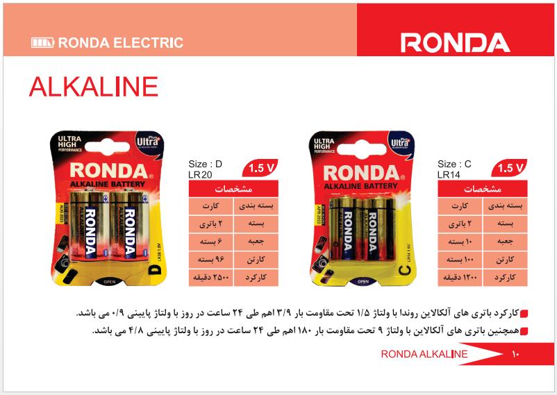باتری آلکالاین متوسط و بزرگ 2 عددی روندا