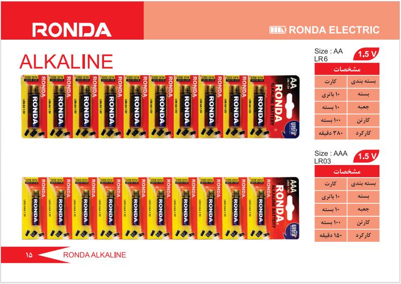 باتری آلکالاین 10 عددی روندا
